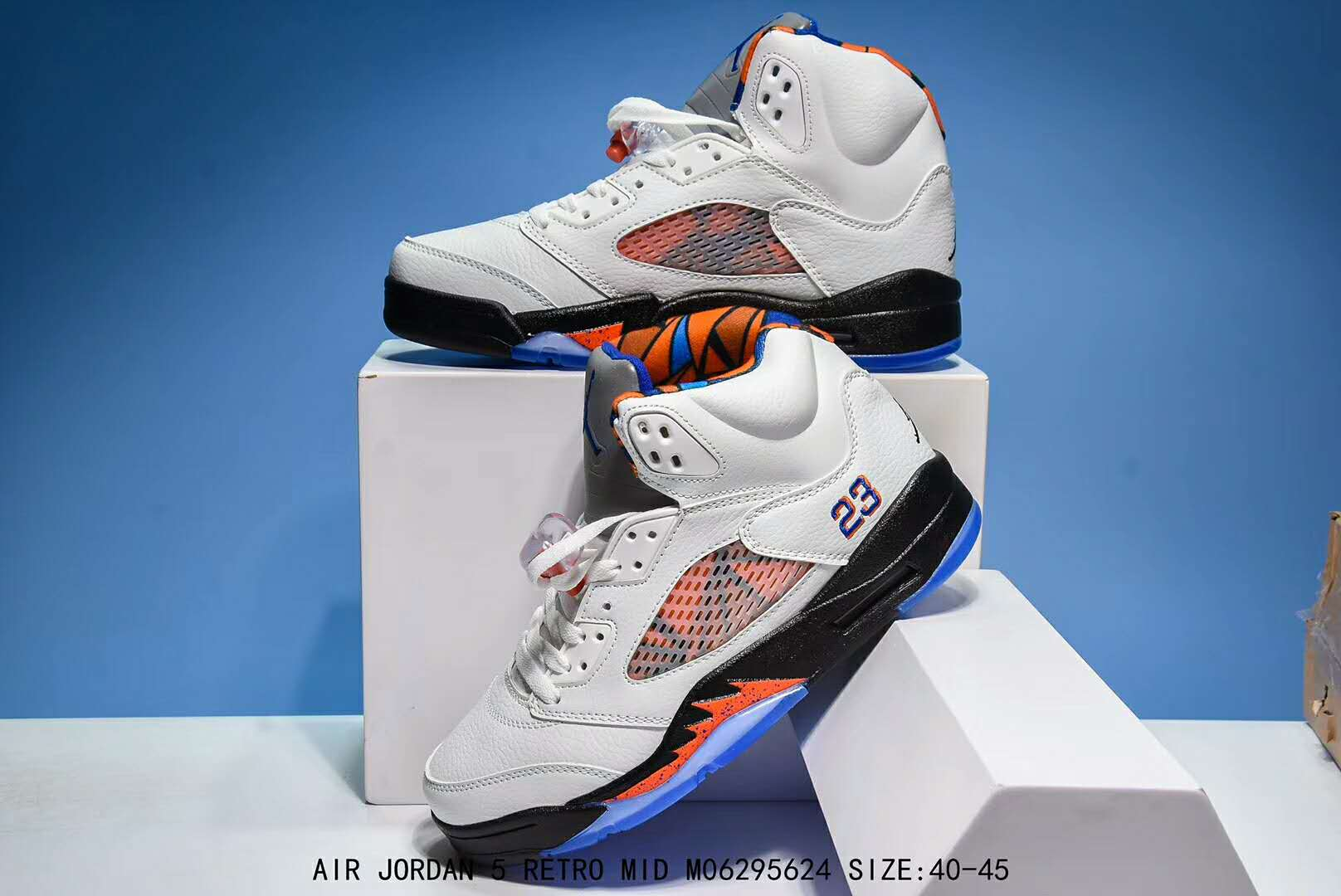 New Air Jordan 5 Retro White Blue Orange Shoes