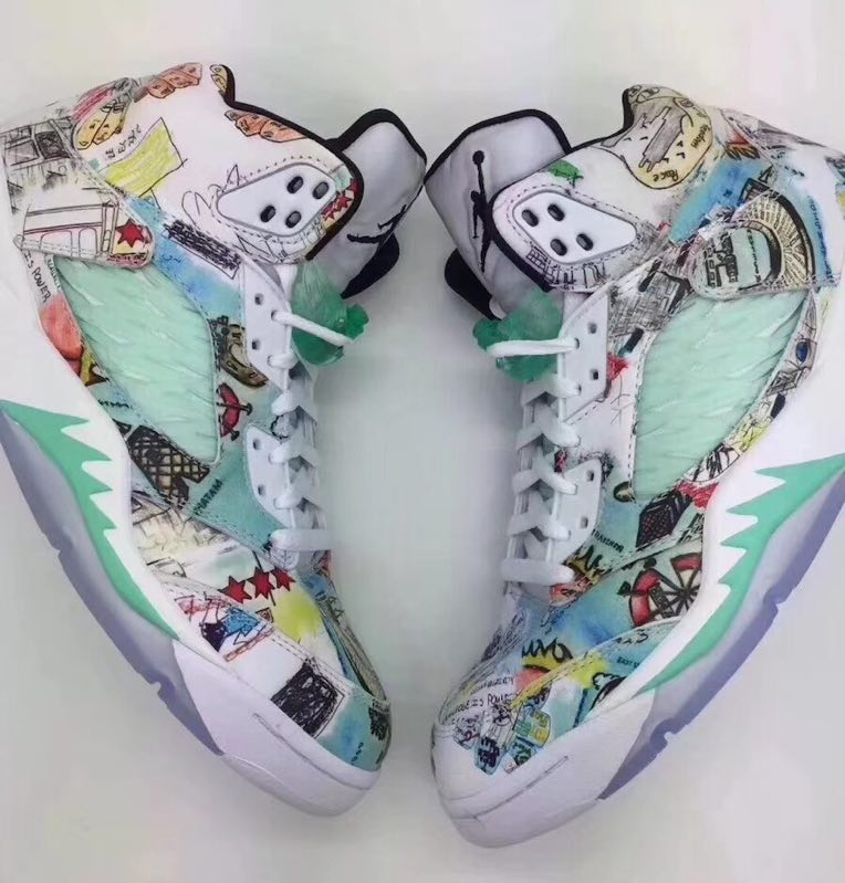 New Air Jordan 5 Scrawl Colorful Shoes
