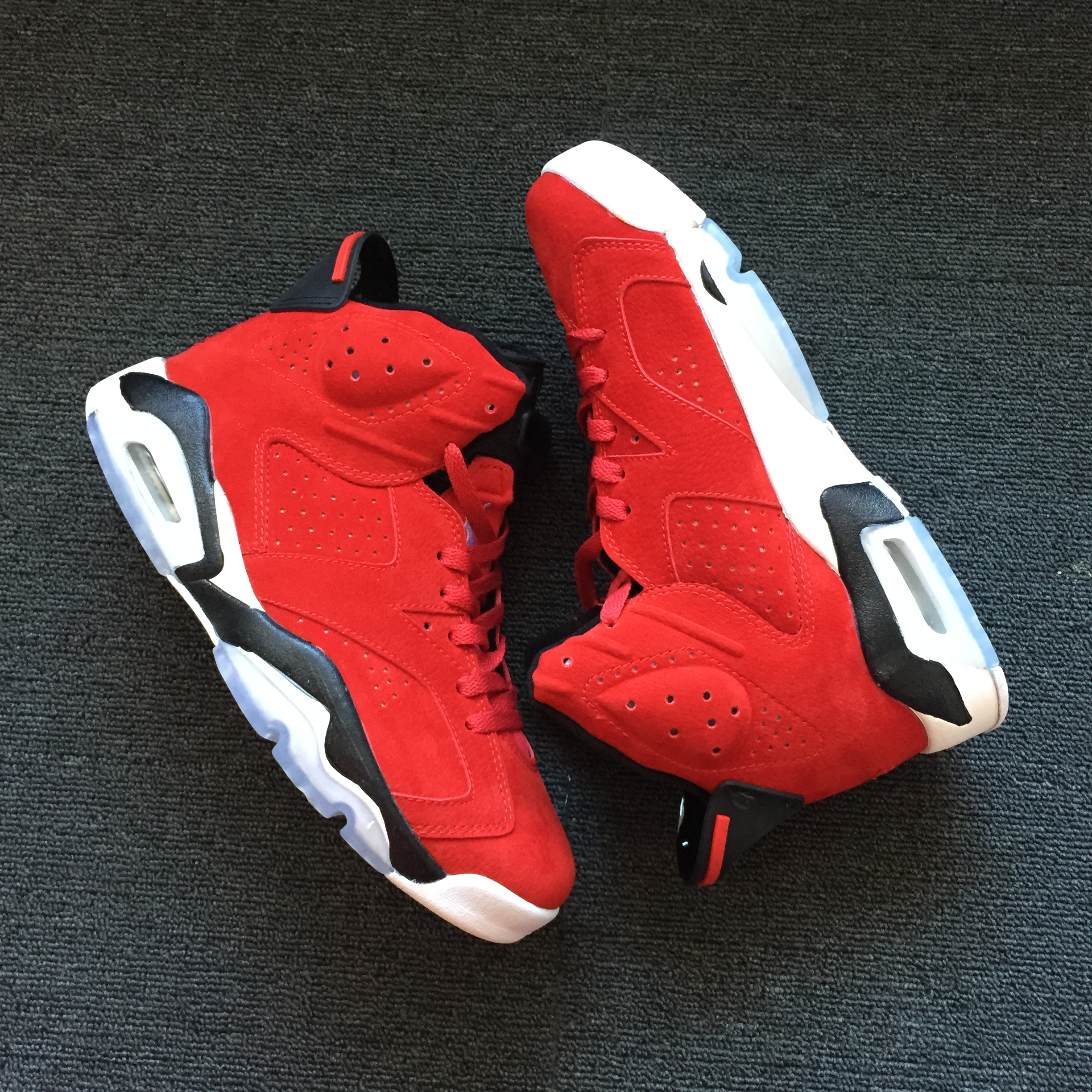 New Air Jordan 6 Deer Skin Red Black White Shoes
