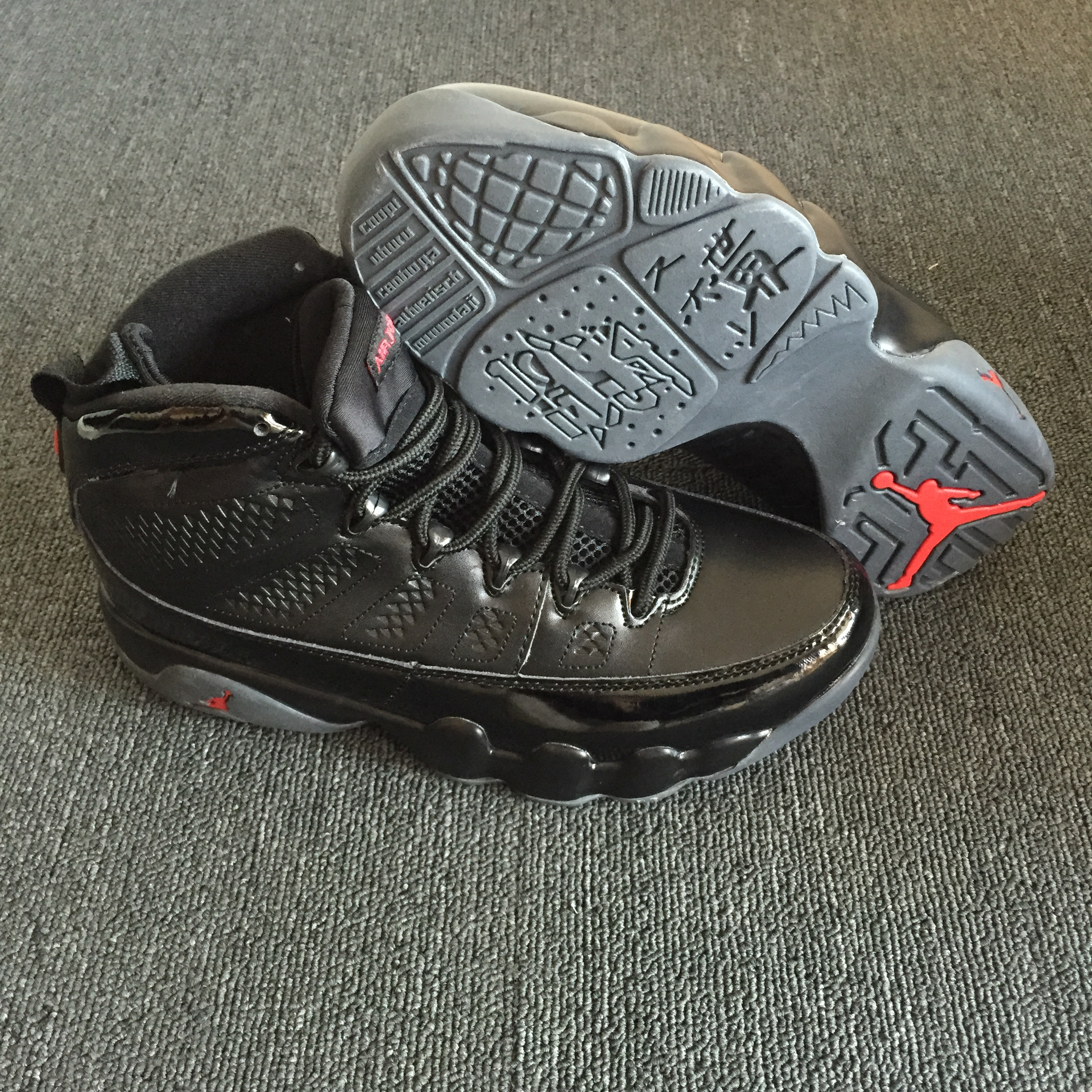 New Air Jordan 9 Retro Black Red Grey Shoes