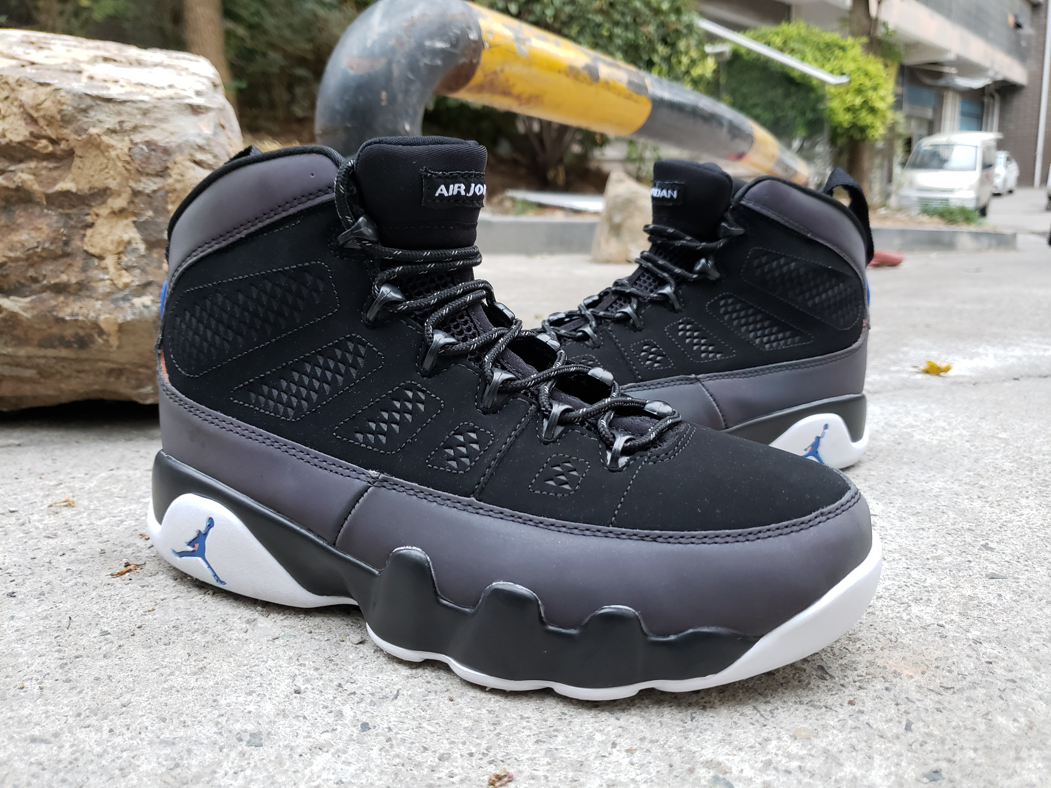 New Air Jordan 9 Retro Chamelon Black Grey Blue Shoes