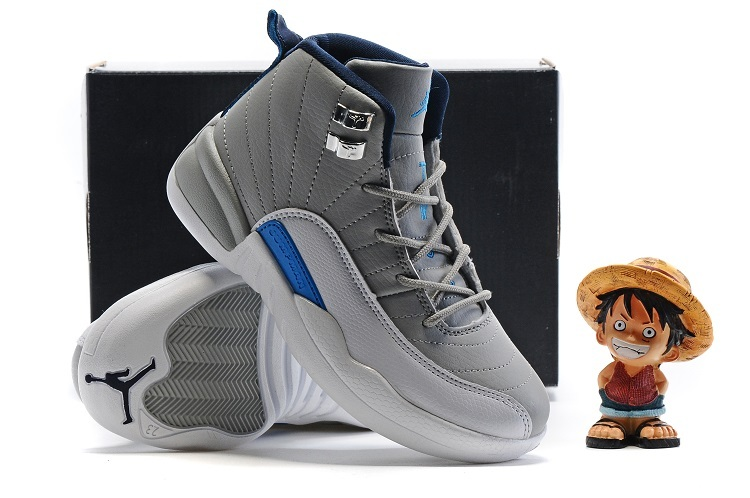 New Jordan 12 Grey Blue Shoes For Kids