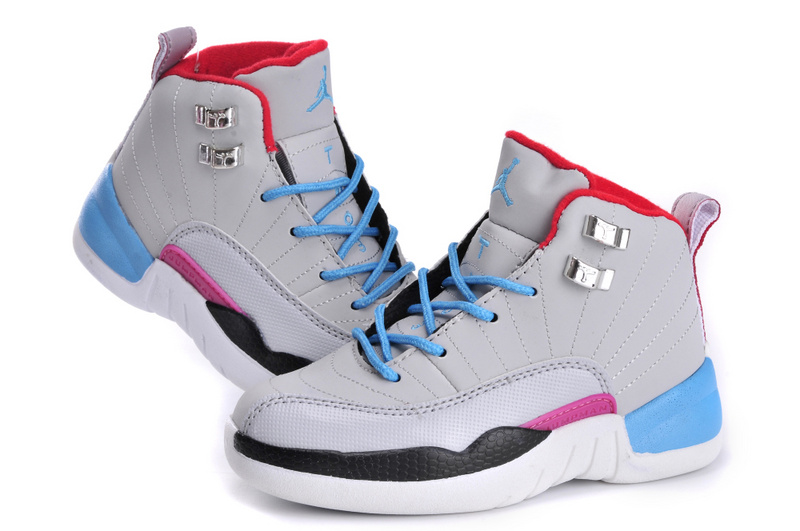 New Jordan 12 Miami Grey Blue Black Red For Kids