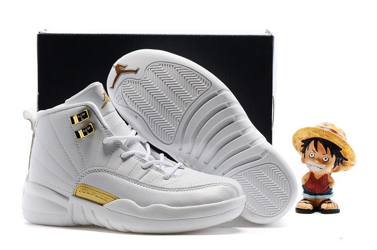 New Jordan 12 OVO White Gold Shoes For Kids