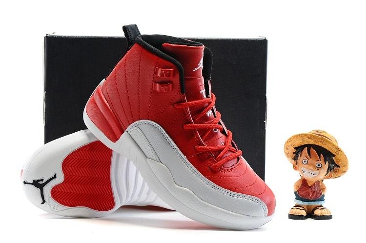 New Jordan 12 Red White Shoes For Kids