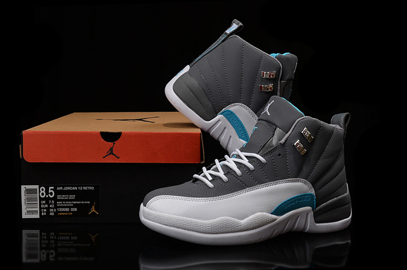 New Jordan 12 Retro Grey White Blue