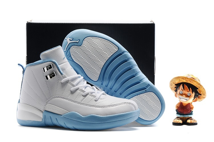 New Jordan 12 White Baby Blue Shoes For Kids