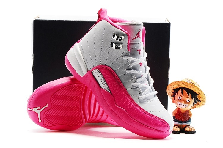 New Jordan 12 White Pink Shoes For Kids