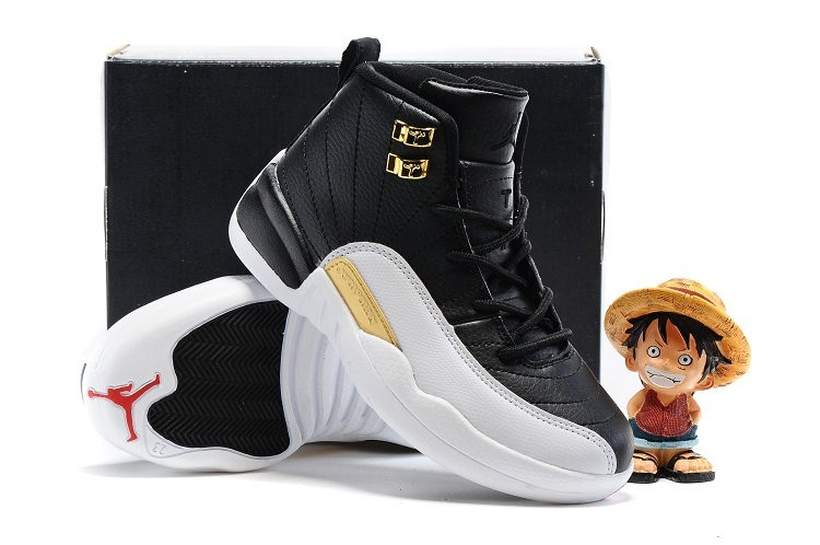 New Jordan 12 Wings White Black Gold Shoes For Kids