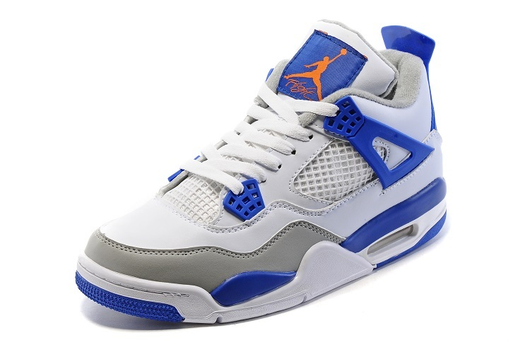 New Jordan 4 Retro White Blue Grey