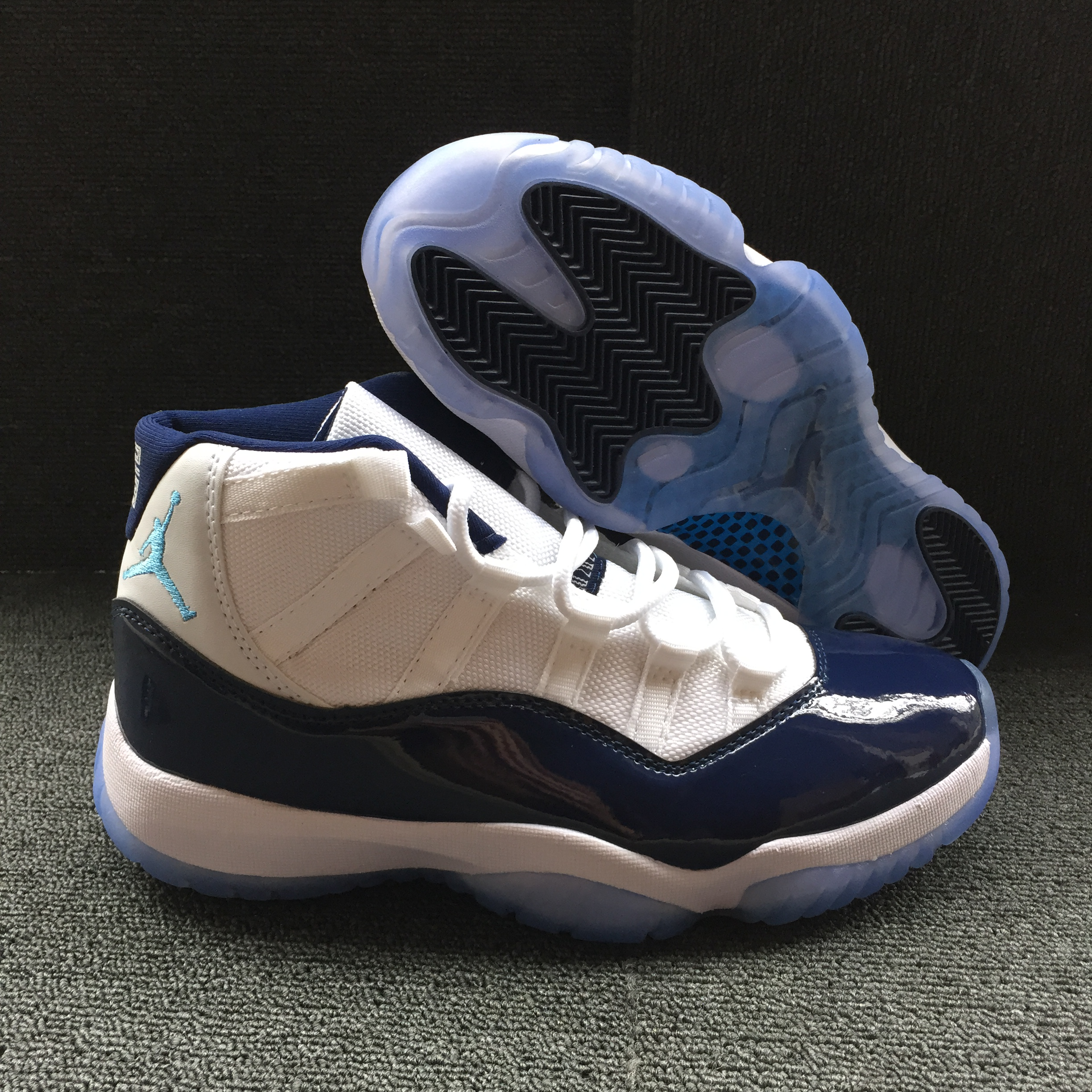 New Air Jordan 11 Retro White Blue Jumpman Shoes