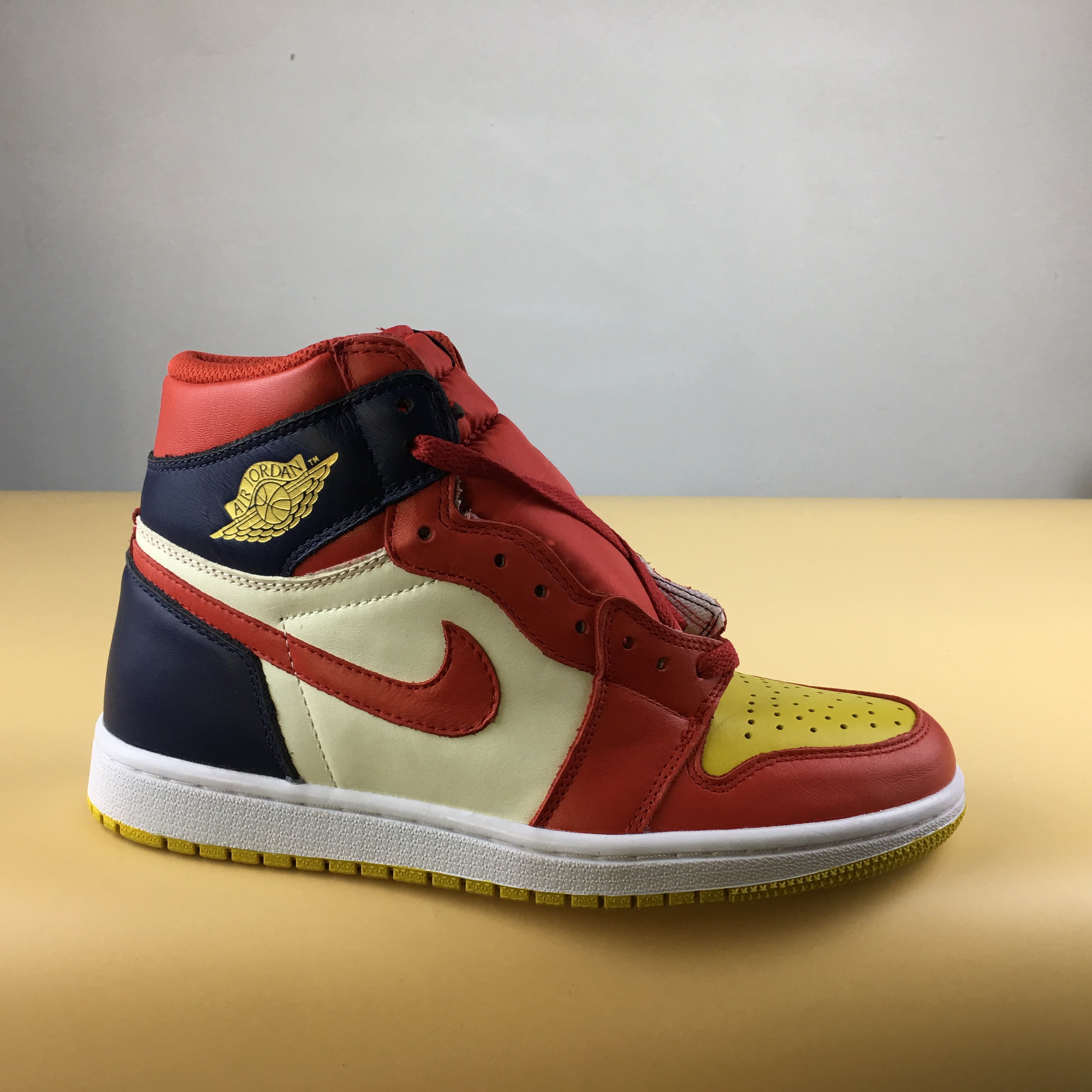 New Men Air Jordan 1 Mandrin Duck Red Yellow Blue