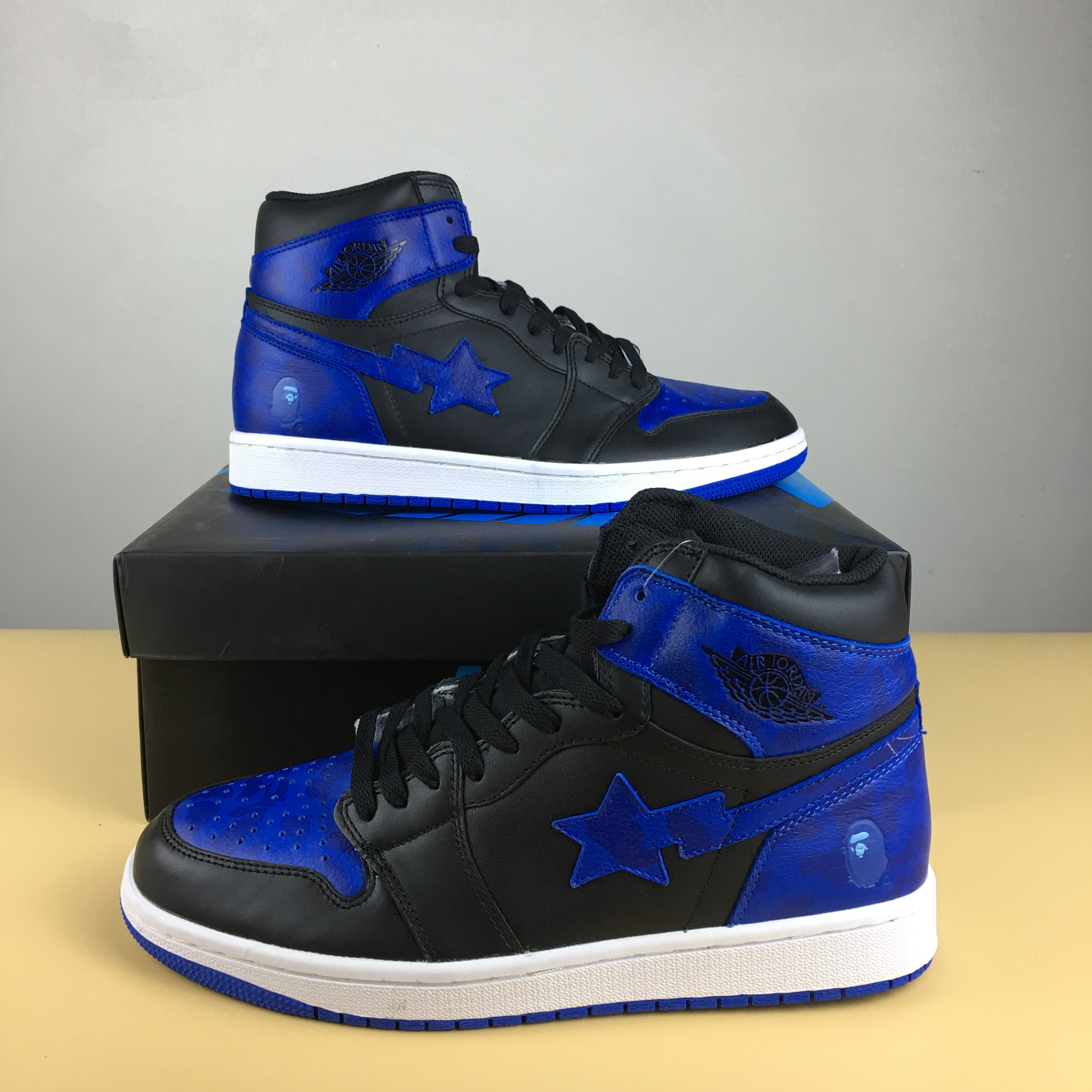 New Men BAPE x Air Jordan 1 Royal