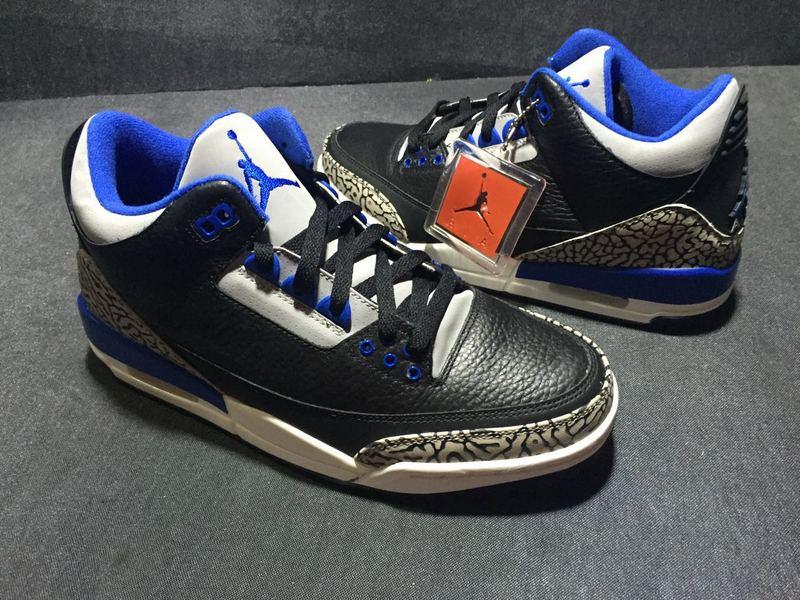 New 2016 Air Jordan 3 Black Royal Blue Shoes