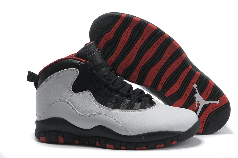 Jordan 10 Retro Shoes Black Grey Red