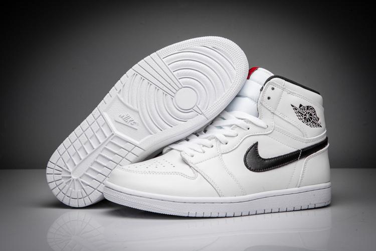 New Air Jordan 1 All White Black Swoosh Shoes [16OG91909 ...