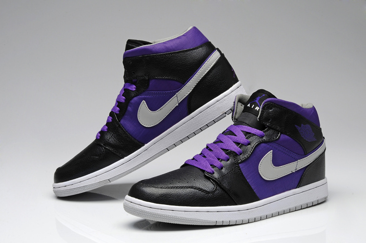 New Arrival Jordan 1 Black Purple White Shoes