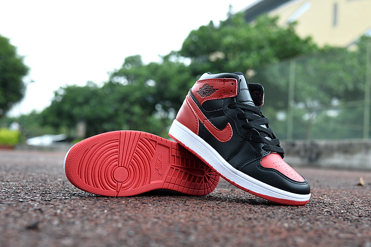 New Air Jordan 1 Black Red White Shoes For Kids