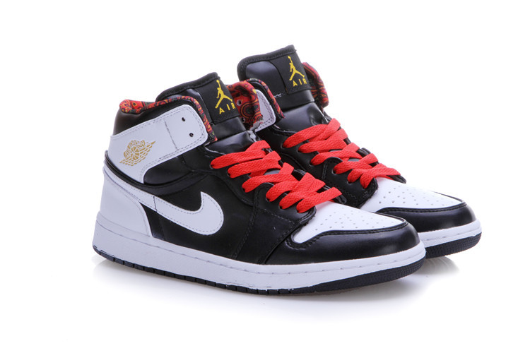 New Air Jordan 1 Black White Red Shoes