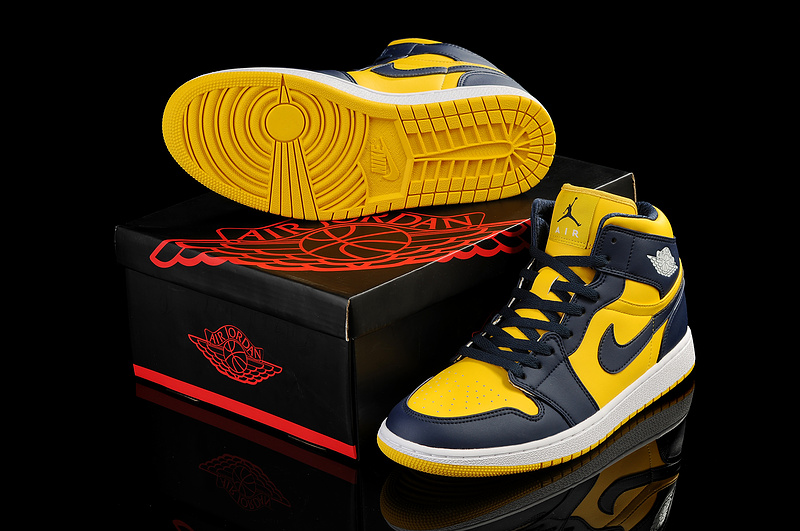 New Arrival Jordan 1 Black Yellow Shoes