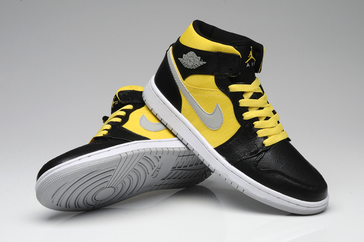 New Arrival Jordan 1 Black Yellow White Shoes