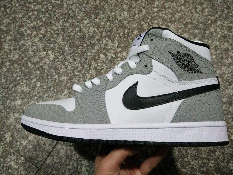 New Air Jordan 1 Crack Grey White Shoes