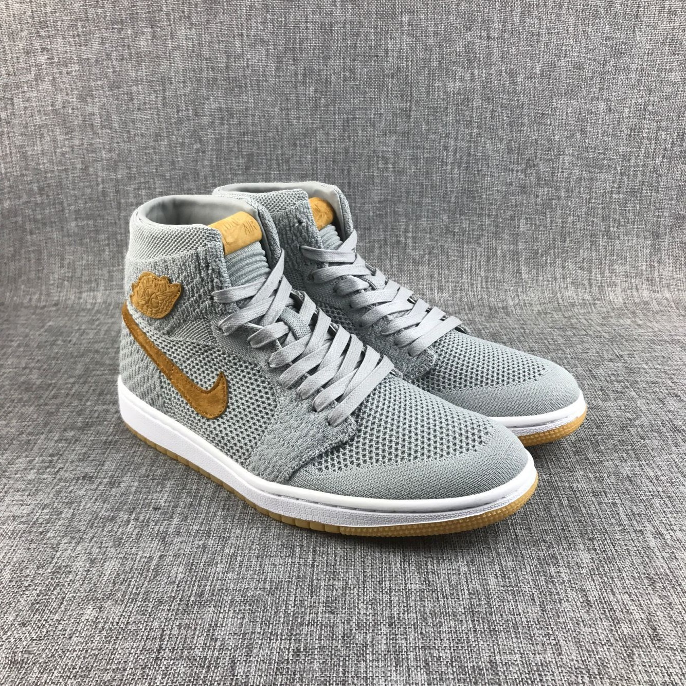 New Air Jordan 1 Flyknit Grey Yellow Shoes