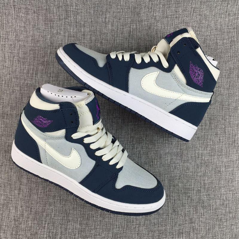 New Air Jordan 1 GS Deep Blue Purple White Shoes