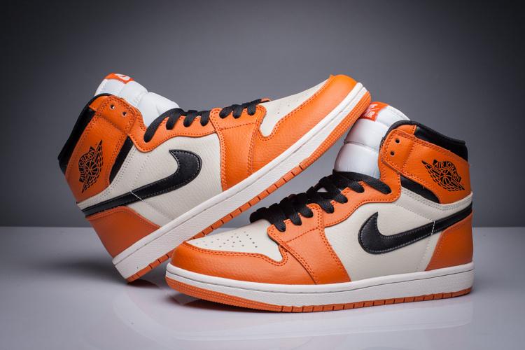 New Air Jordan 1 GS Orange White Black Shoes