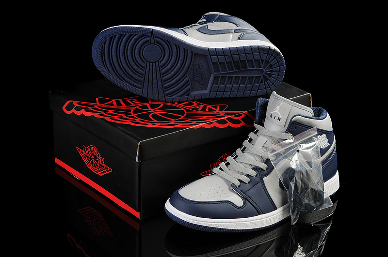 New Air Jordan 1 Grey Blue White Shoes
