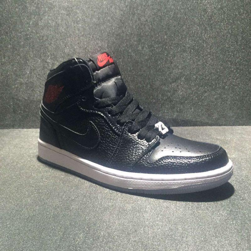 New Air Jordan 1 High All Black Red Shoes