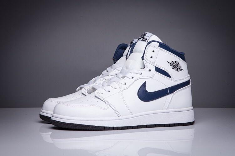 New Air Jordan 1 High All White Blue Swoosh Shoes