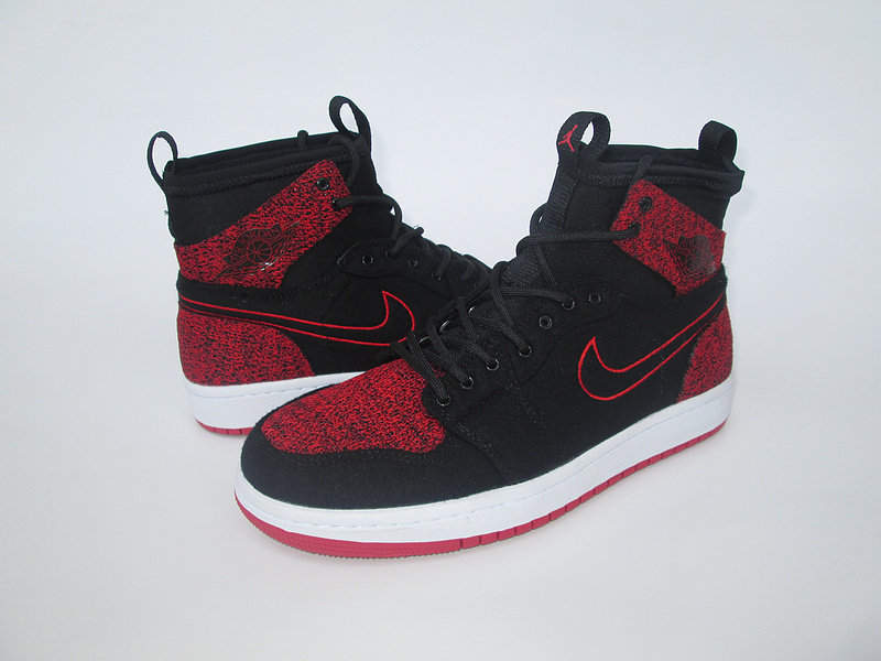 New Air Jordan 1 Knitted Socks Shoes Black Red