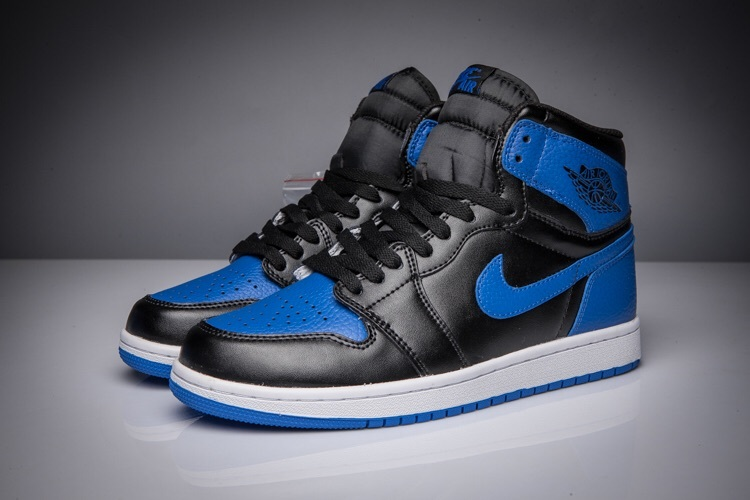 New Air Jordan 1 Litchi Skin Black Roayl Blue Shoes