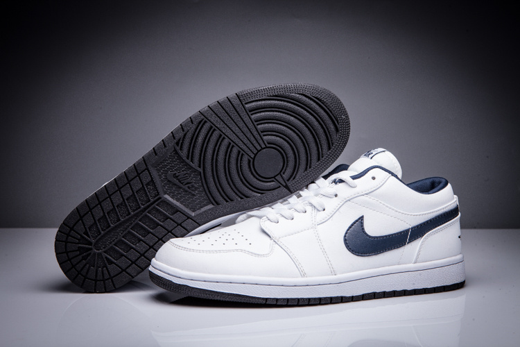 New Air Jordan 1 Low All White Blue Swoosh Shoes