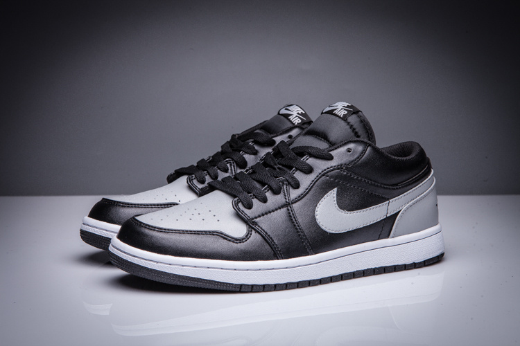 New Air Jordan 1 Low Grey Black White Shoes