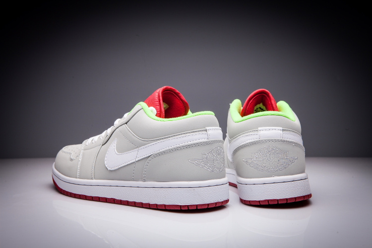 New Air Jordan 1 Low Hare Grey White Red Shoes