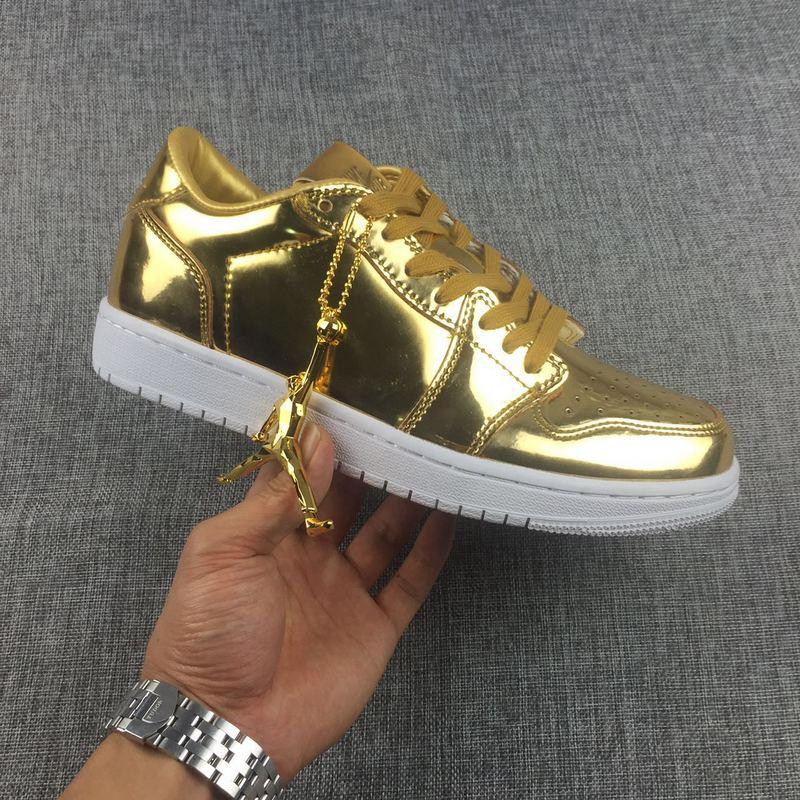 New Air Jordan 1 Low Liquid Gold Shoes