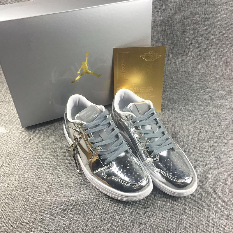 New Air Jordan 1 Low Liquid Silver Shoes