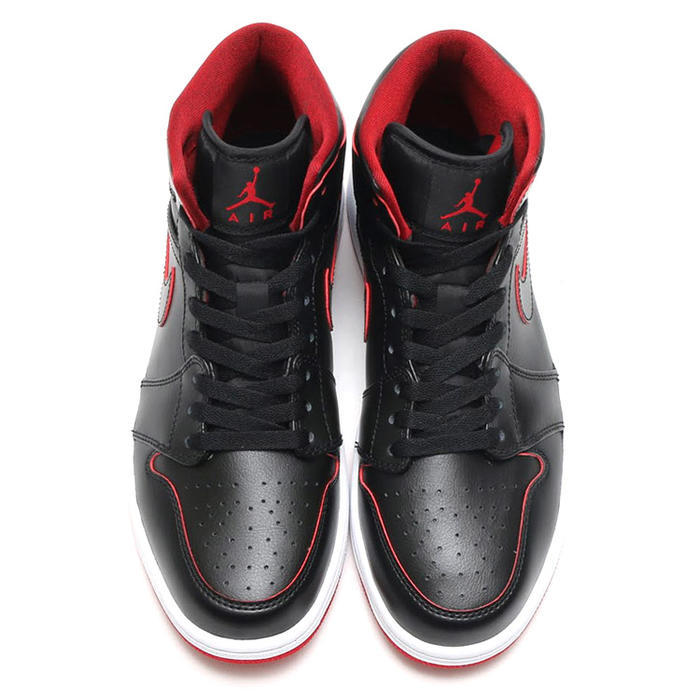 New Air Jordan 1 Mid Black Red White Shoes