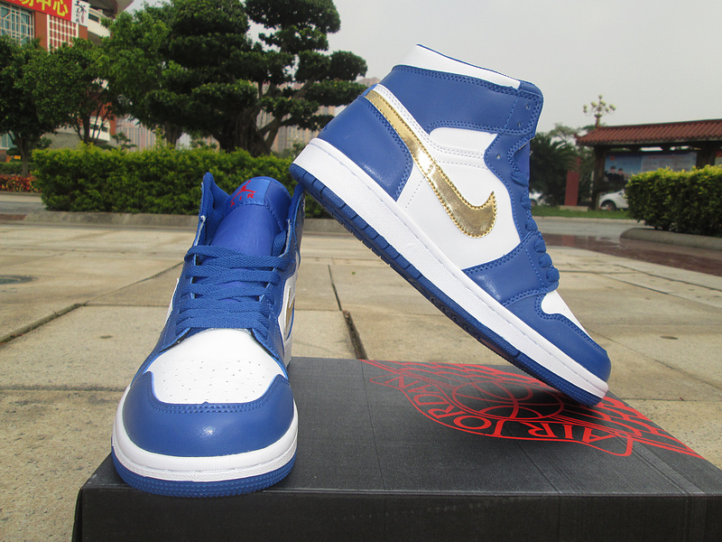 New Air Jordan 1 Olympic Gold Swoosh Blue White Shoes