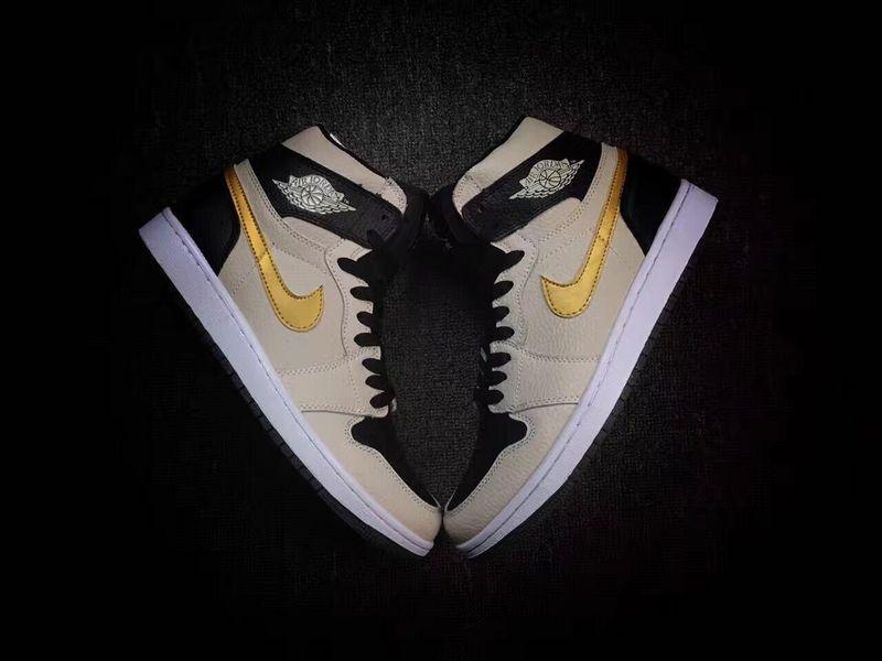 New Air Jordan 1 Pearl Grey Black Gold Shoes