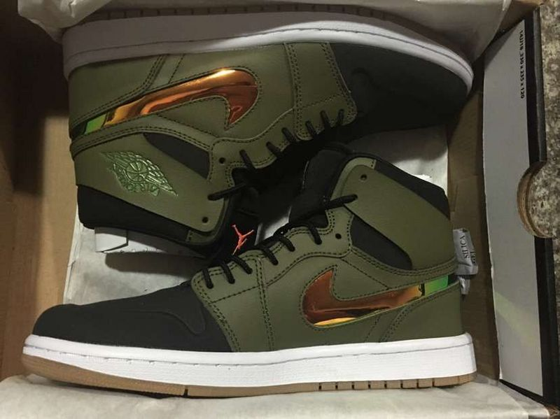 New Air Jordan 1 Retro Army Rainbow Swoosh Shoes