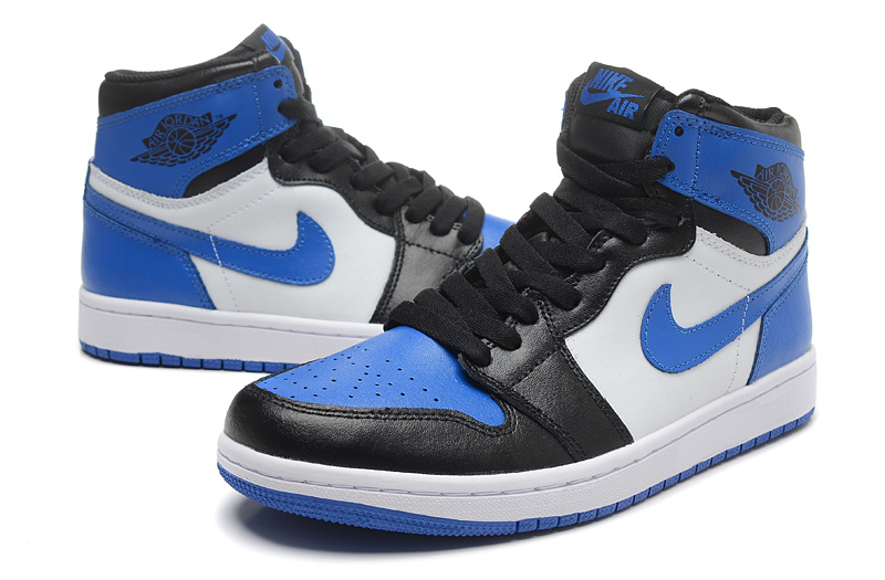 New Air Jordan 1 Retro Black Blue White Shoes