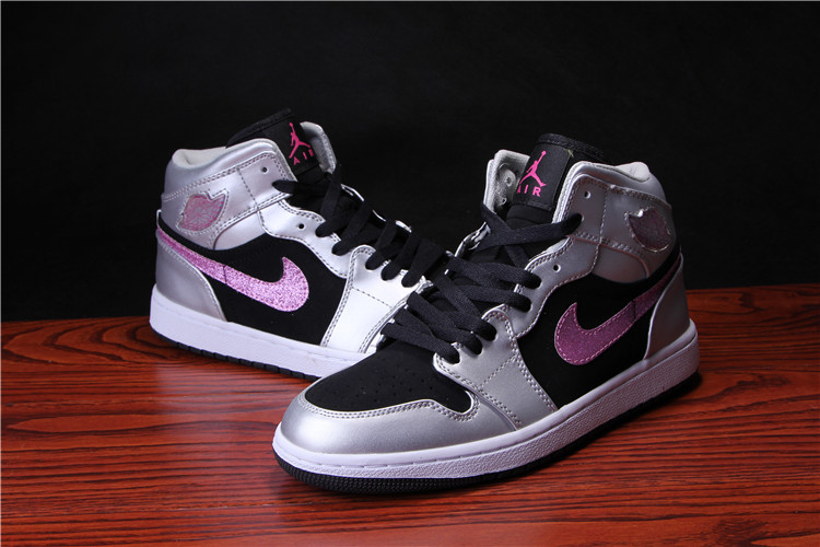 New Air Jordan 1 Retro Black Silver Peach Shoes