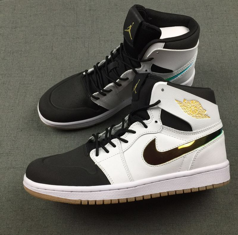 New Air Jordan 1 Retro Black White Gold Shoes