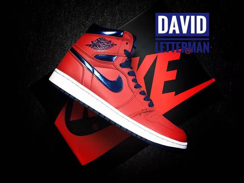 New Air Jordan 1 Retro David Letterman Red Blue White Shoes