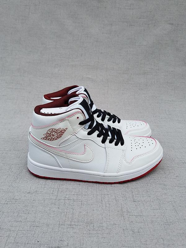 New Air Jordan 1 Retro MID White Black Red Shoes