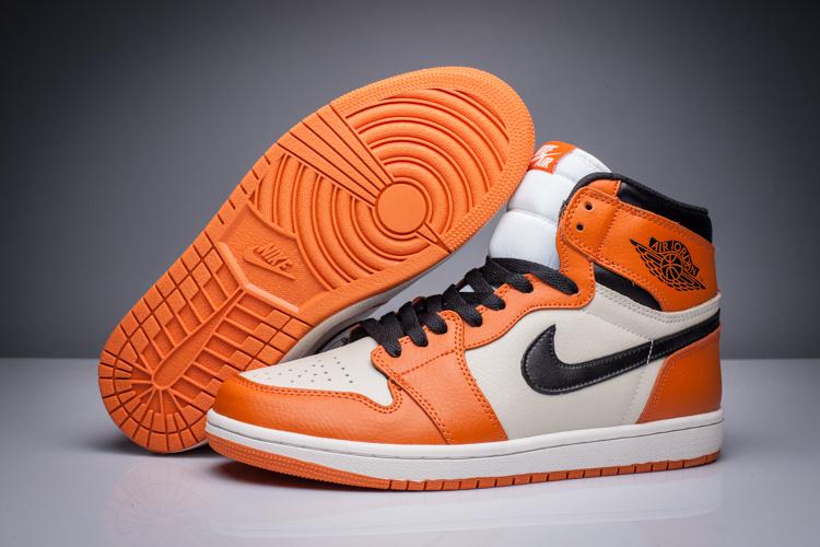 New Air Jordan 1 Retro Orange White Black Shoes