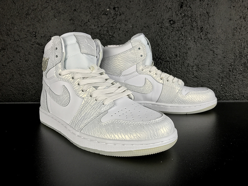 New Air Jordan 1 Retro White Silver Shoes